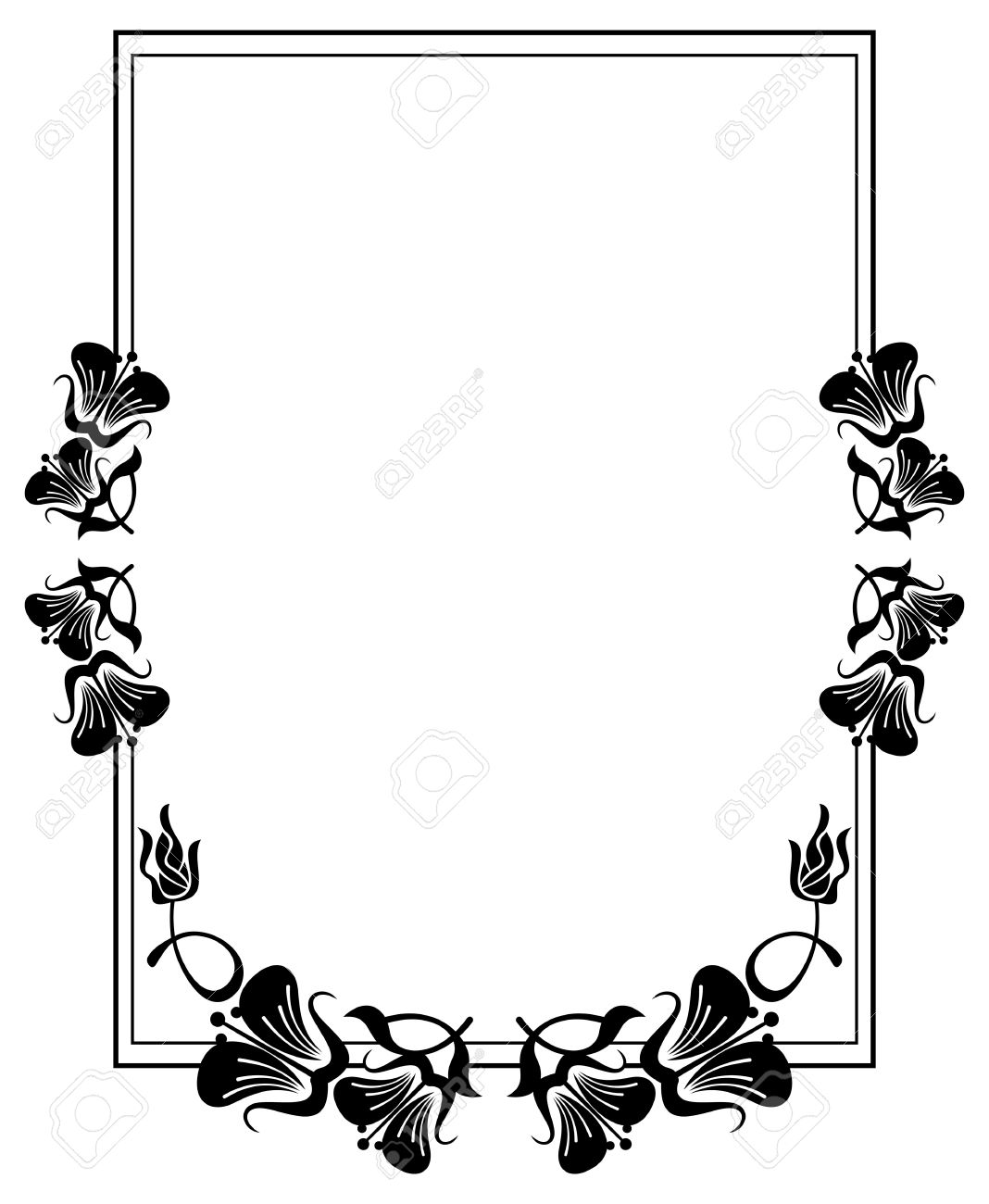 Vertical Silhouette Flower Frame. Simple Black And White Frame ...