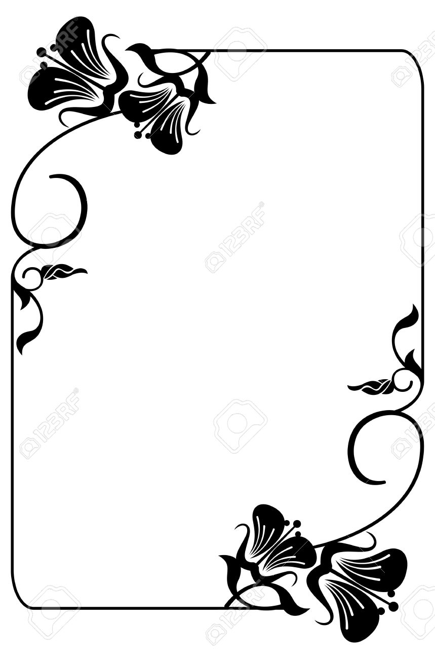 Vertical Silhouette Flower Frame. Simple Black And White Frame ...