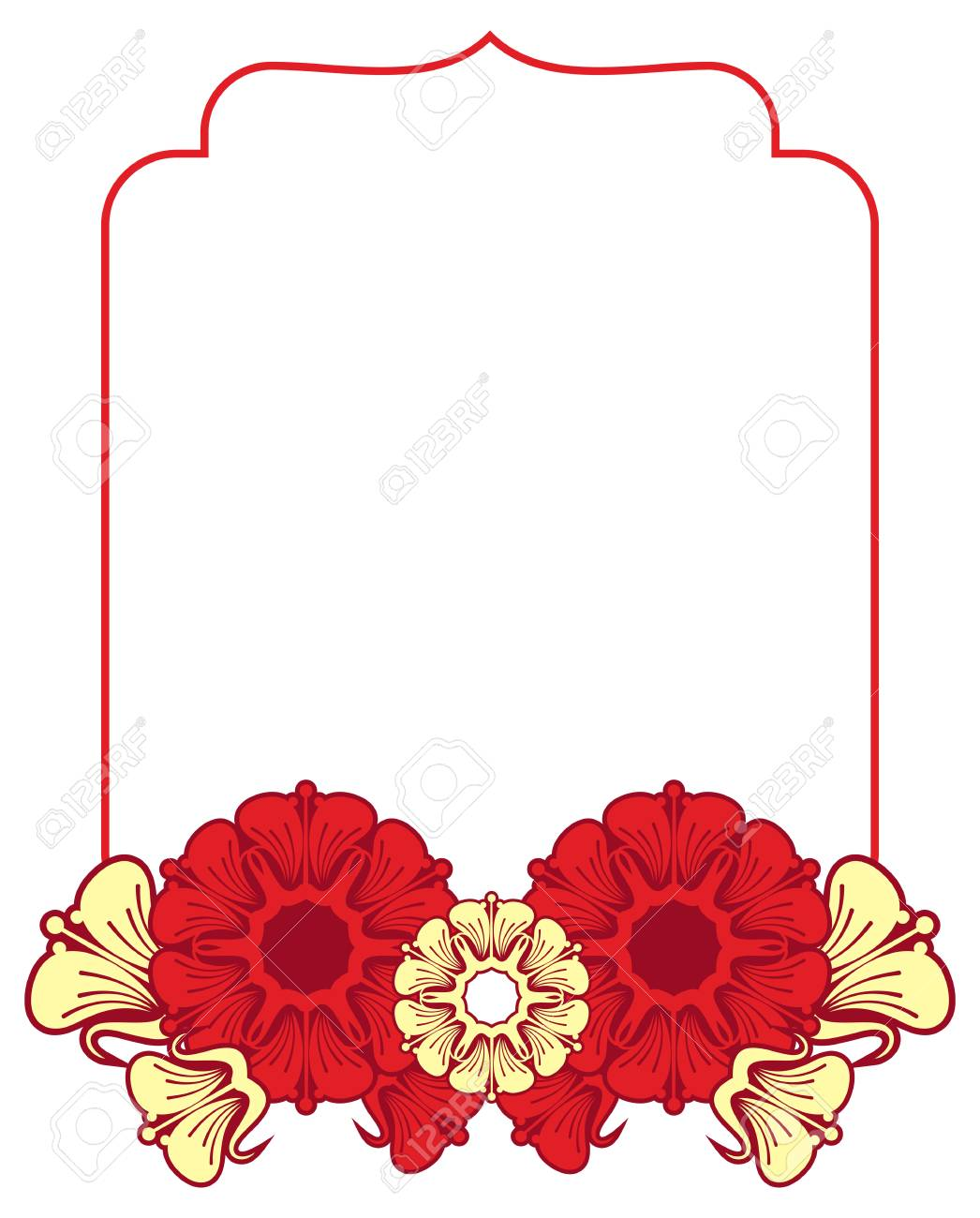 Beautiful Frame With Red And Yellow Flowers. Design Element ...
