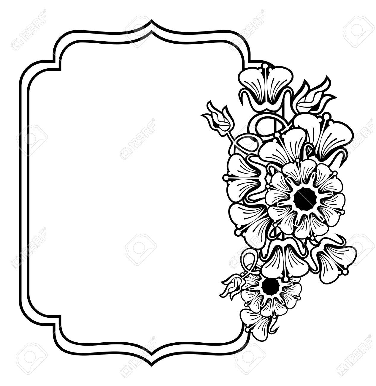 Contorno Vertical Negro Y Marco Blanco Con Flores Abstractas El Diseño Del Arte De Línea Para Colorear Anuncios Boda Invitaciones Etiquetas Y