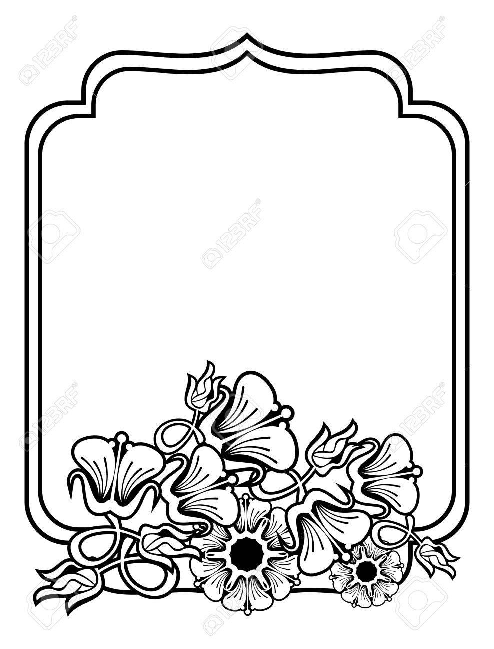 Contorno Vertical Negro Y Marco Blanco Con Flores Abstractas. El ...