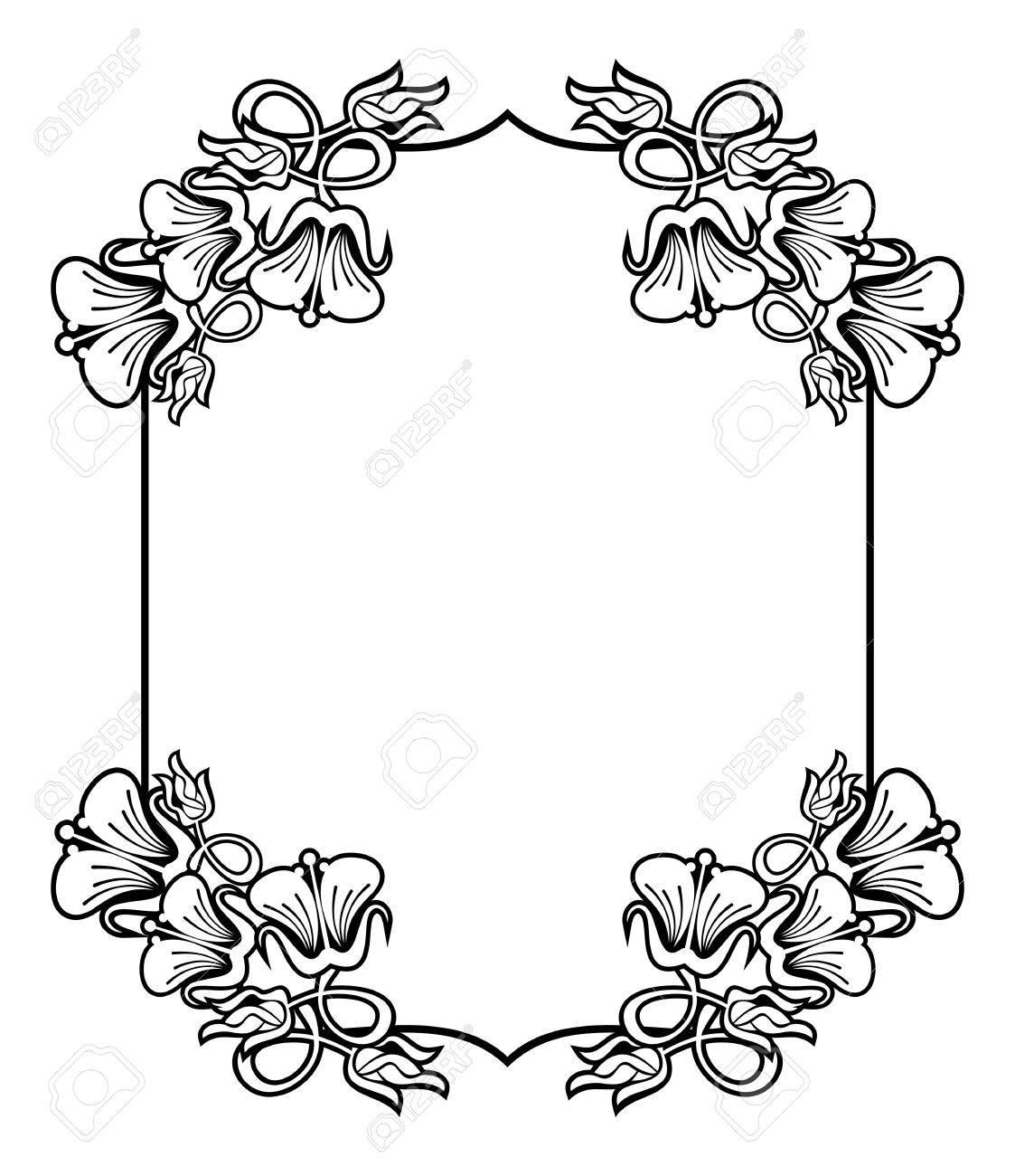 Vertikal Kontur Schwarz Weiss Rahmen Mit Abstrakten Blumen Line Art