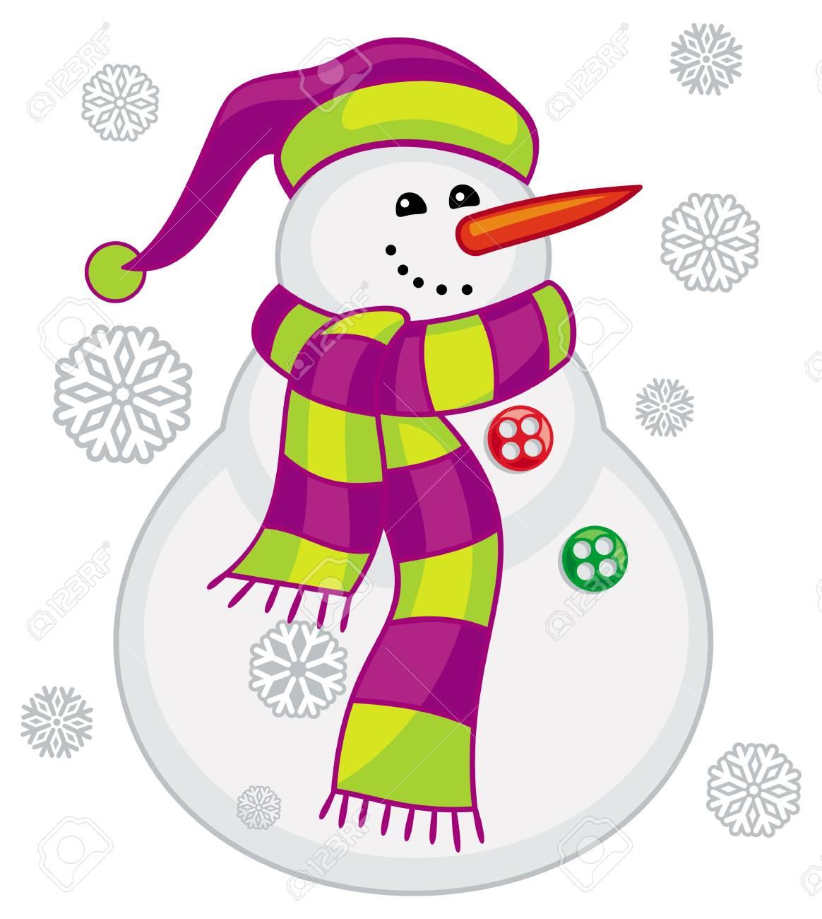 スカーフ帽子雪片のかわいい雪だるまベクター クリップ アートの