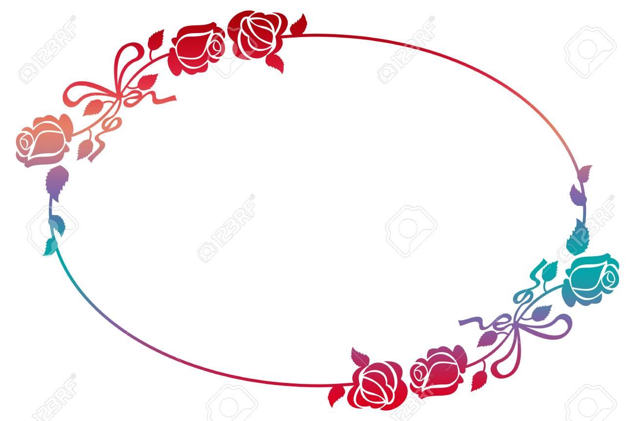 Oval-Gradienten-Rahmen Mit Rosen. Farbe Rahmen Mit Rosen Für ...