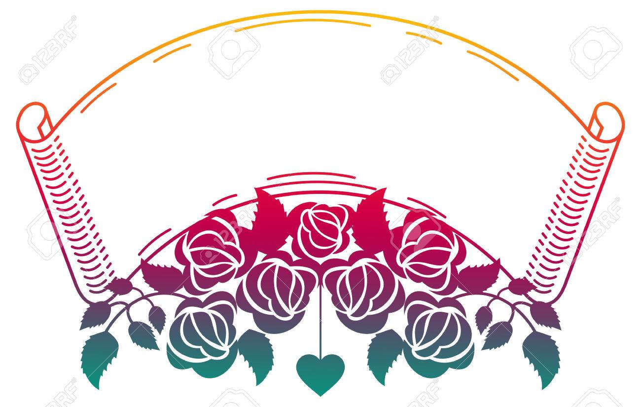 Raster clip art. Paper scroll with roses. Color frame with roses for advertisements, wedding invitations or greeting
