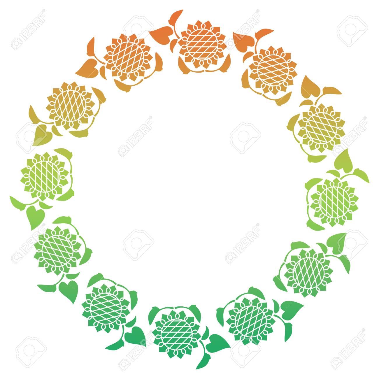 Farbe Runden Rahmen Mit Verlaufsfüllung Und Dekorative Sonnenblumen ...