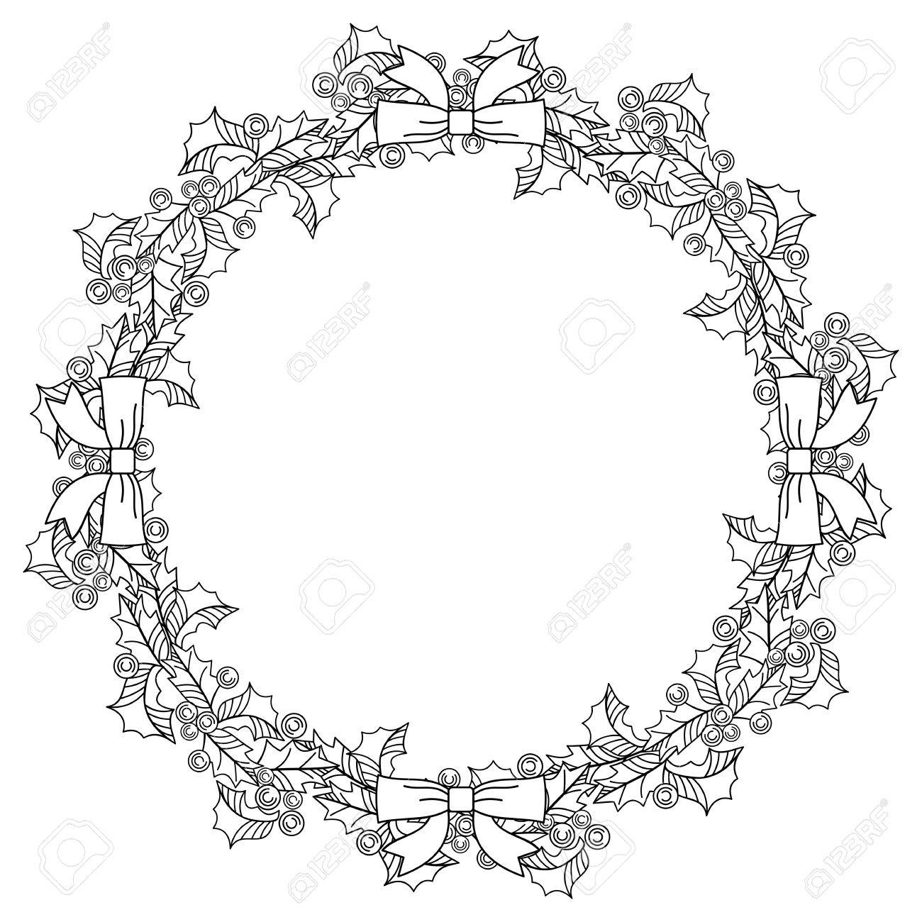 Christmas Garland Drawing.Christmas Garland Outline Holly Berry Contour Image Of Christmas