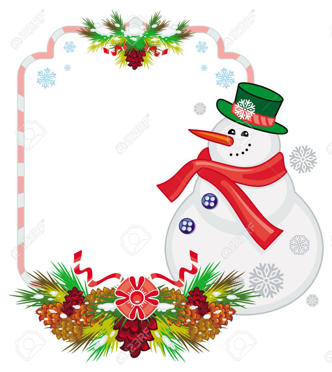 holiday frame with snowman pine branches and cones christmas rh 123rf com