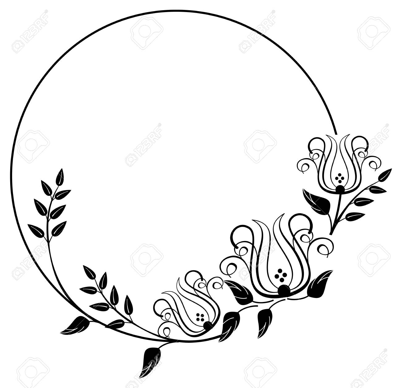 black and white round frame with floral silhouettes copy space rh 123rf com floral clip art borders floral clip art free download