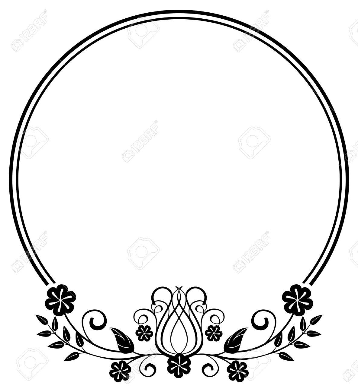 black and white round frame with floral silhouettes copy space rh 123rf com  floral clipart designs
