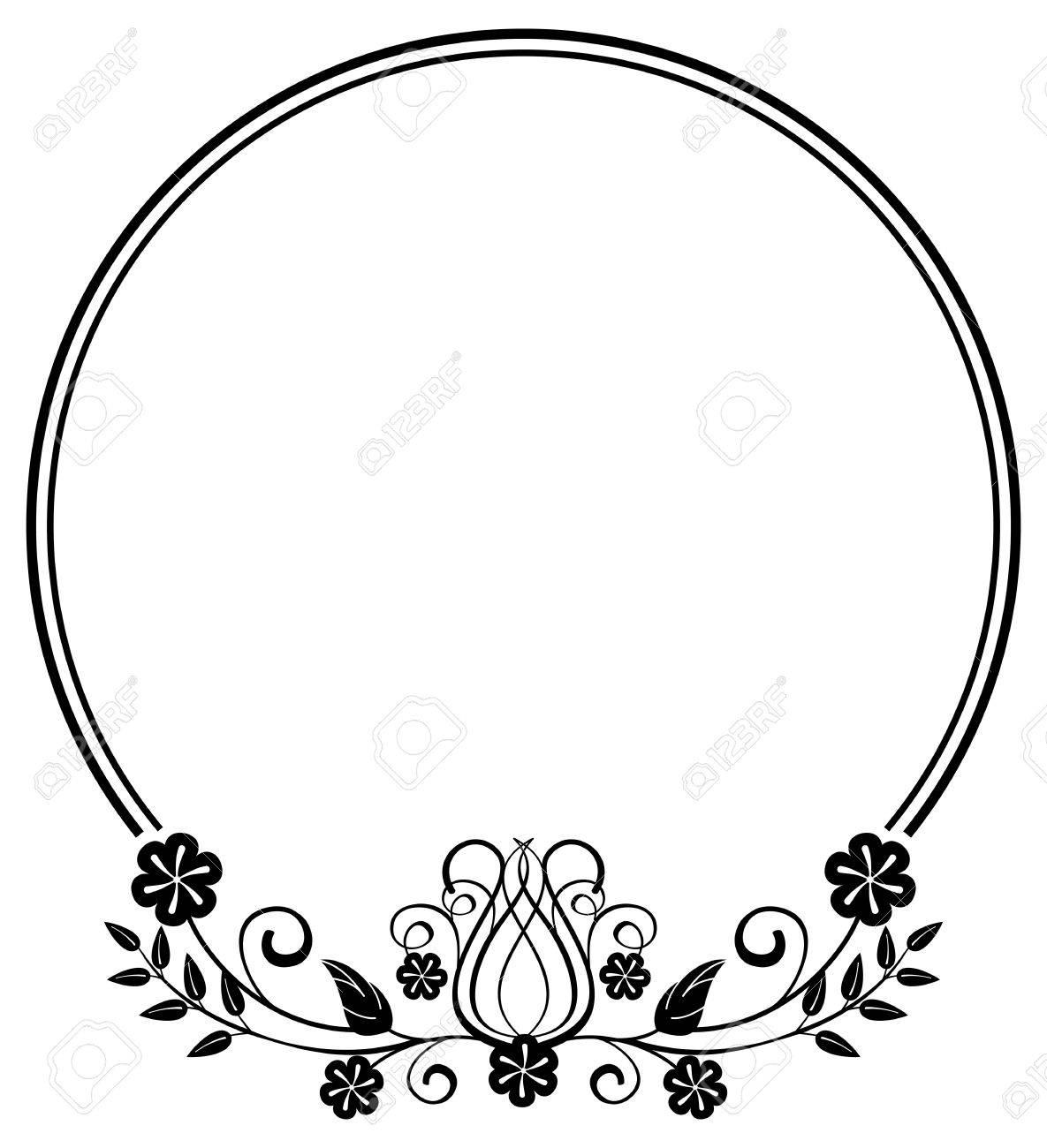 Schwarze Und Weiße Runde Rahmen Mit Floralen Silhouetten. Kopieren ...