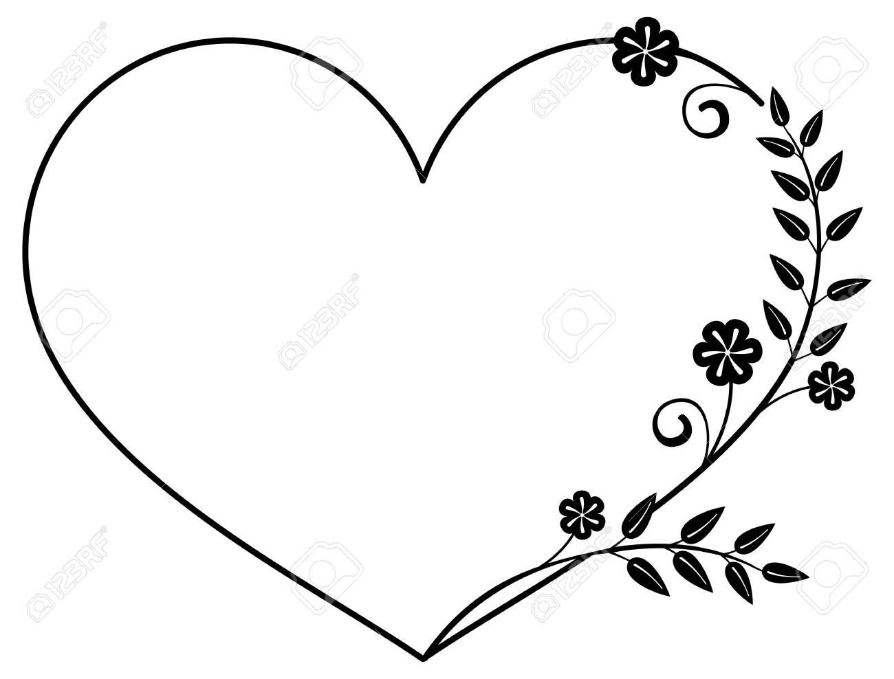 Corazón En Forma De Marco Blanco Y Negro Con Las Siluetas Florales