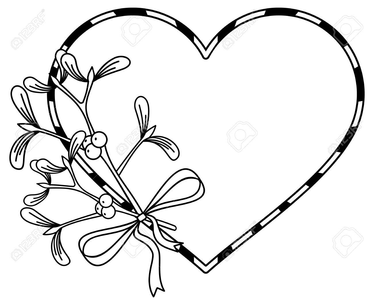 Heart-shaped Frame And Mistletoe. Copy Space. Outline Vector ...