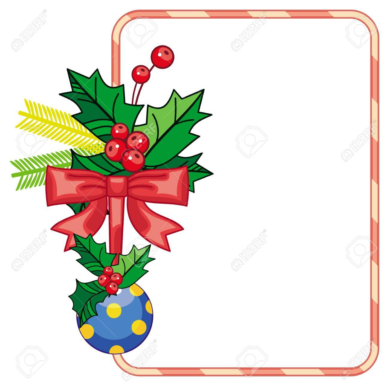 Vertical Frame With Holly Berry And Christmas Ornament. Copy ...