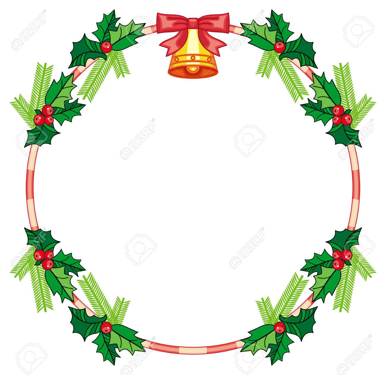 Vector Clip Art. Round Frame With Holly Berry And Jingle Bells. Copy Space.  Christmas Decoration. Vector