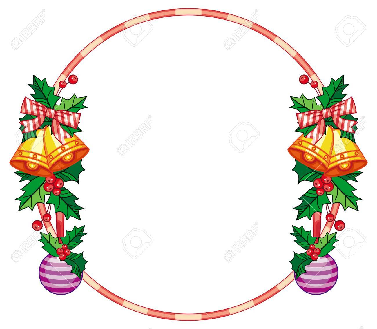 round frame with holly berry and jingle bells copy space christmas rh 123rf com Jingle Bell Rock Clip Art Rustic Jingle Bell Clip Art