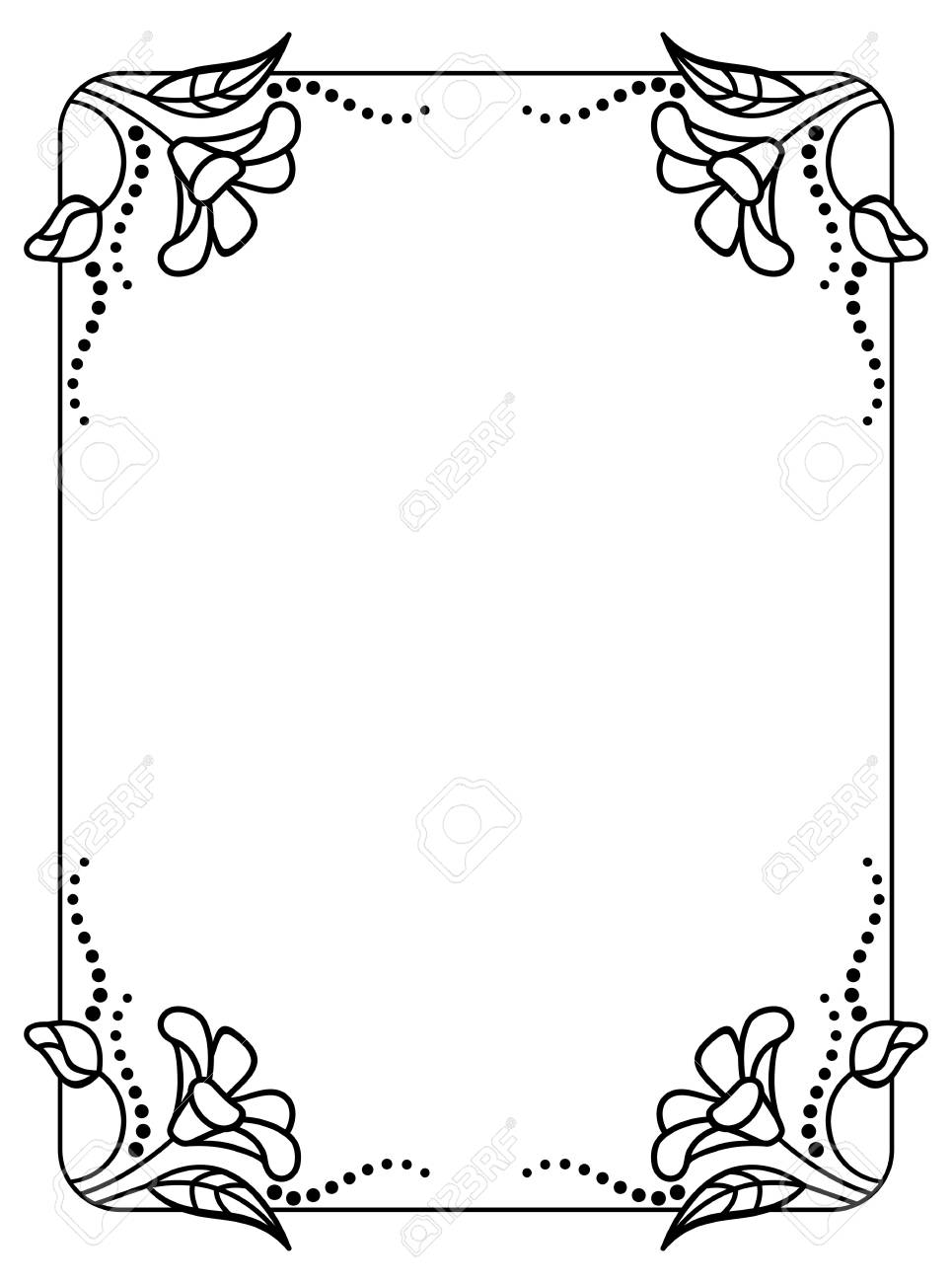 Black And White Frame Outline Decorative Flowers. Copy Space ...