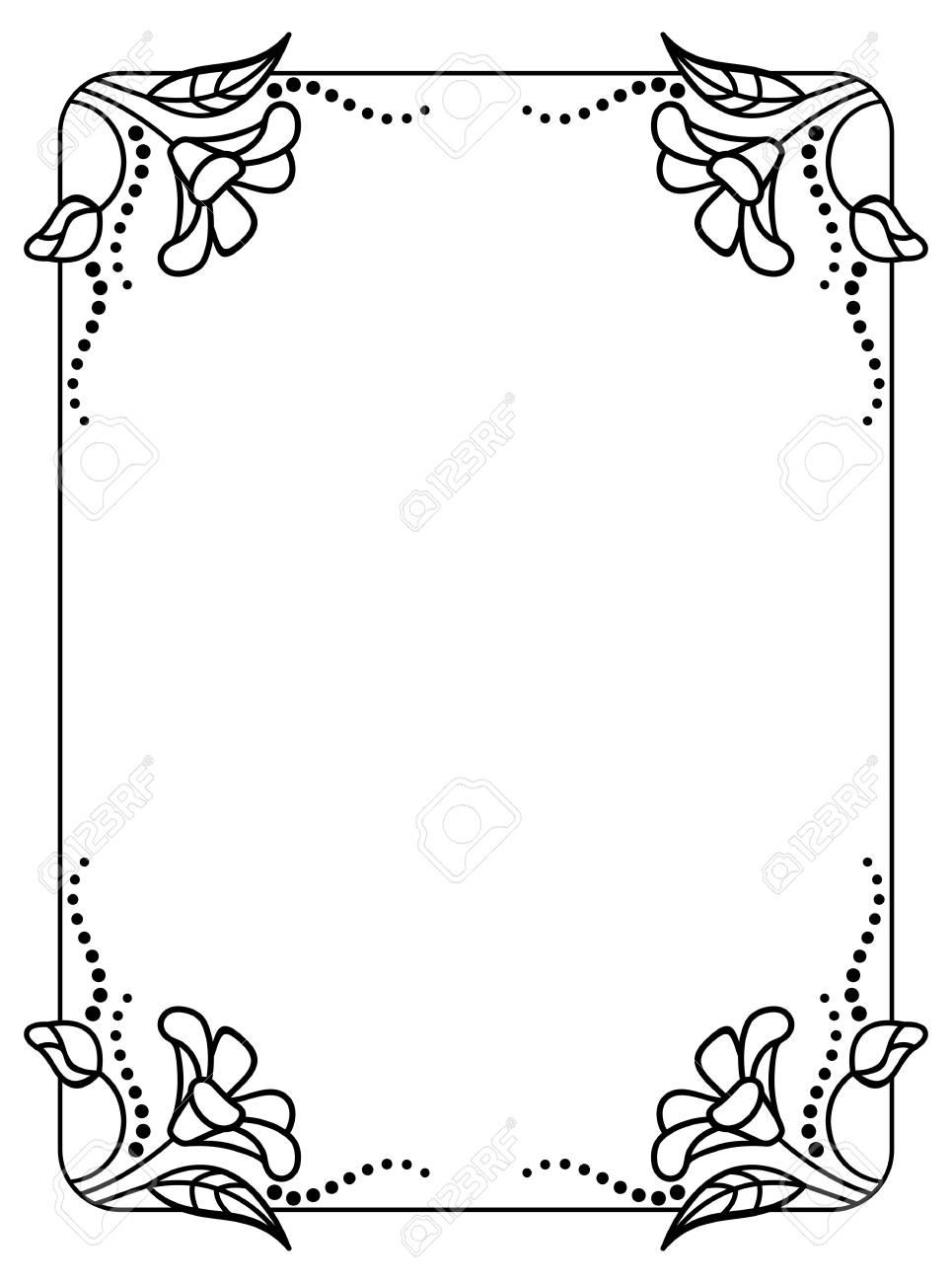 Schwarz-Weiß-Rahmen Umriss Dekorative Blumen. Kopieren Sie Raum ...