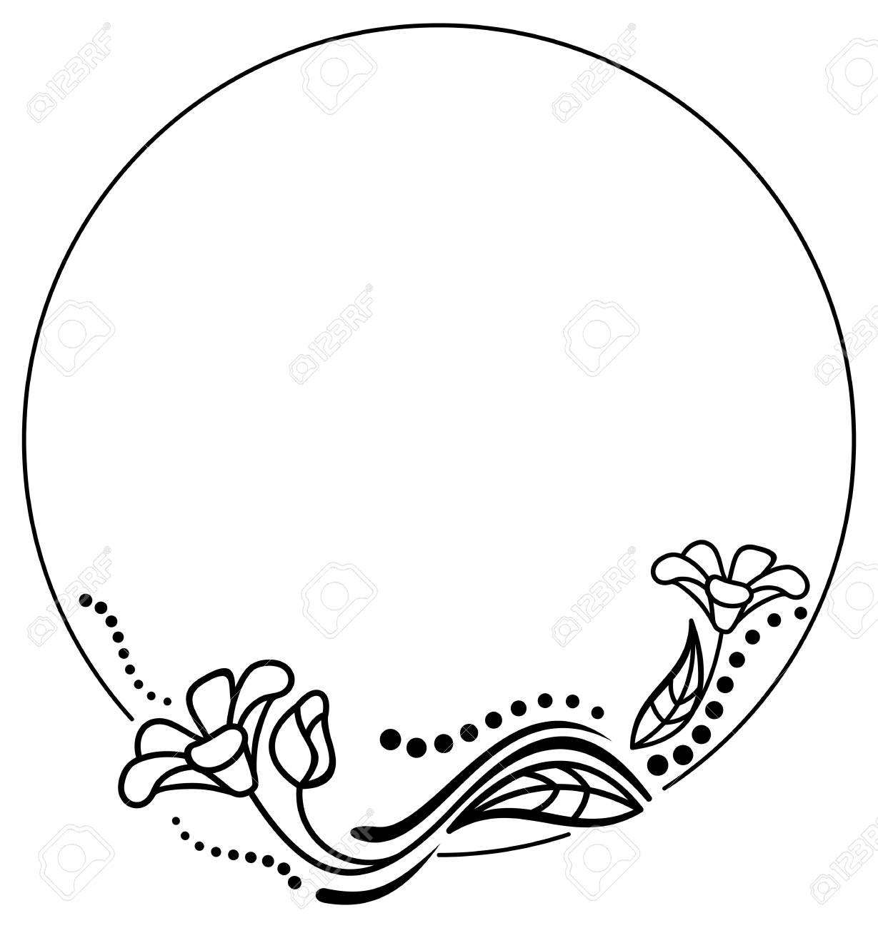 round black and white frame outline decorative flowers copy rh 123rf com