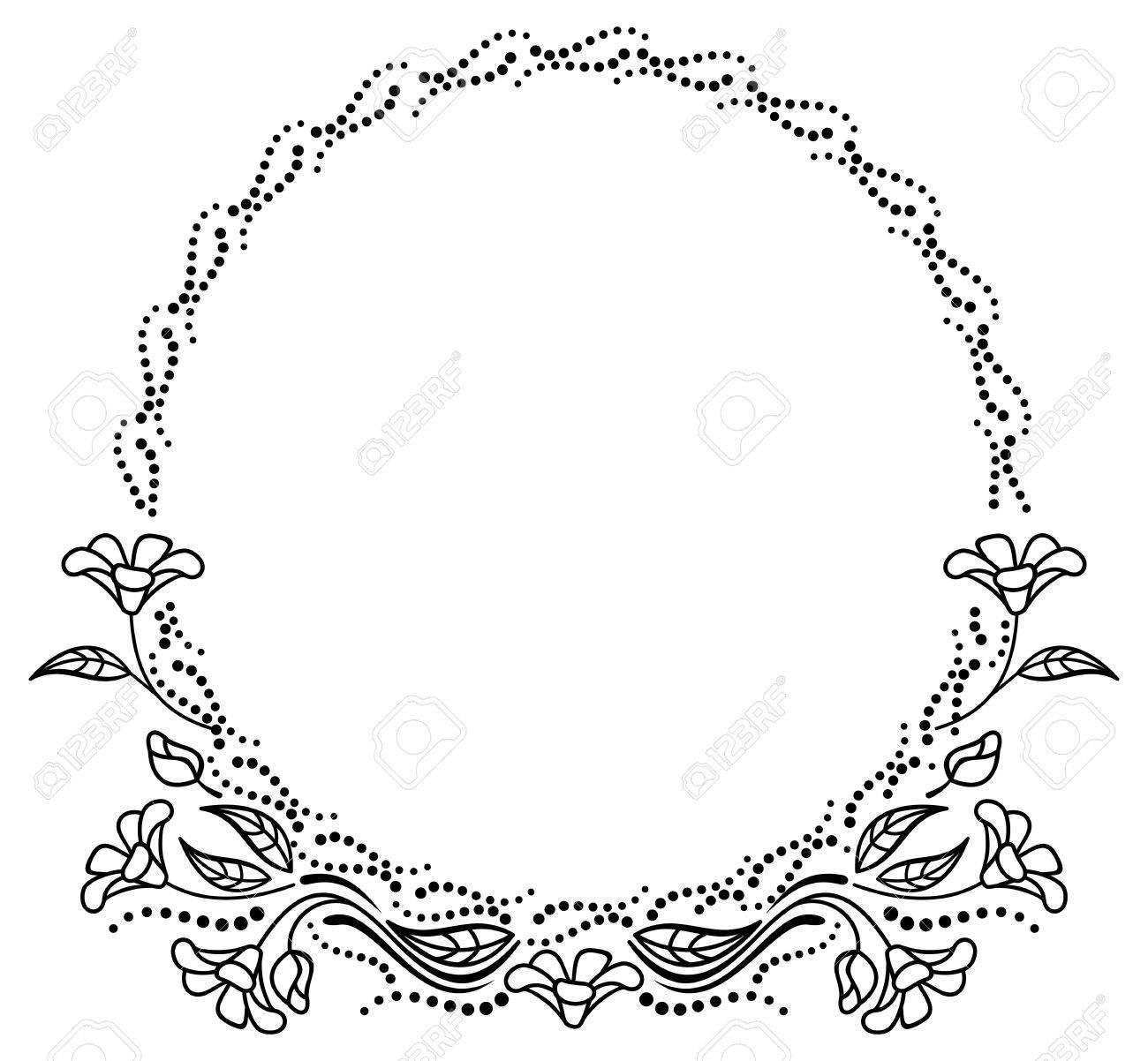 Round Black And White Frame Outline Decorative Flowers. Copy ...