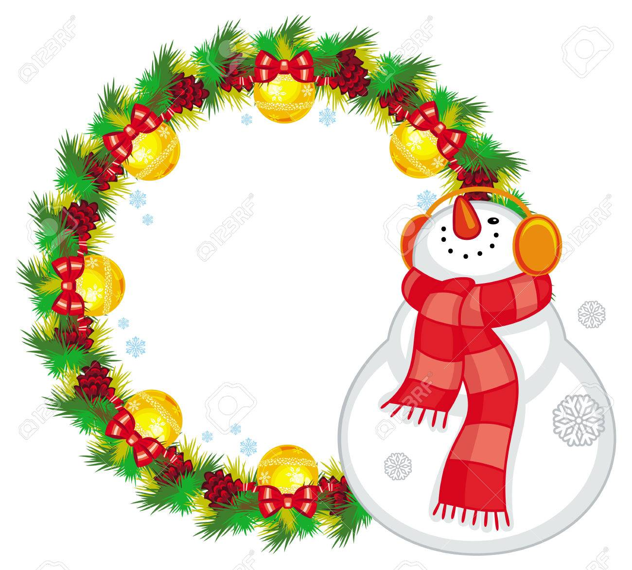 Round Christmas Garland With Happy Snowman In Scarf Christmas