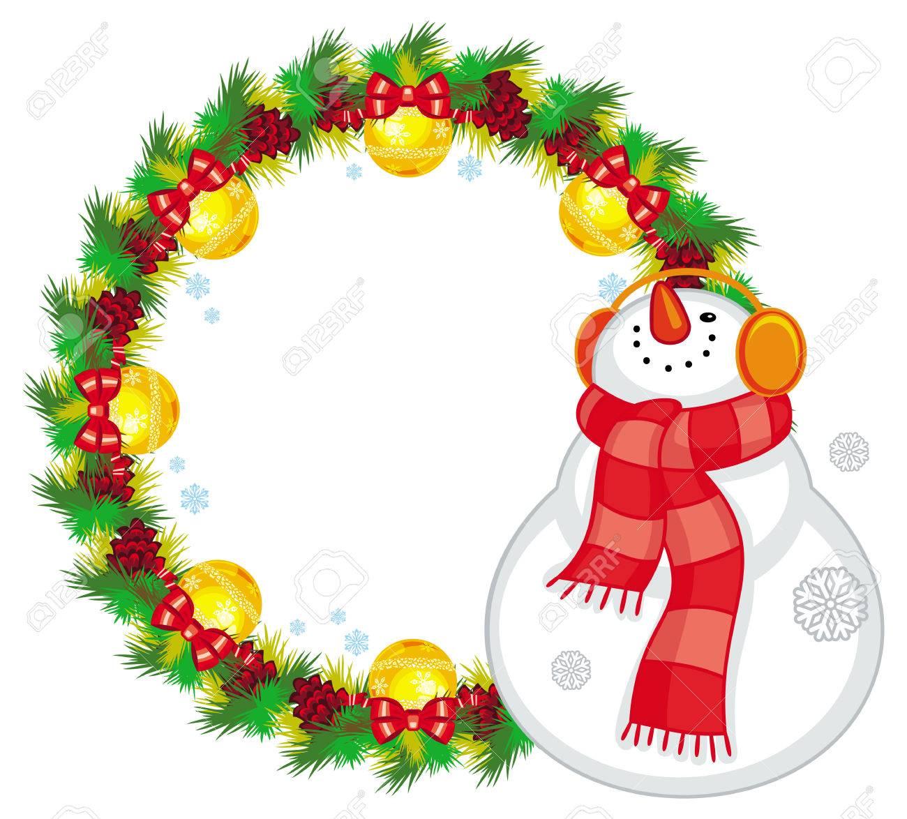 Runde Weihnachtsgirlande Mit Glücklichem Schneemann Im Schal ...