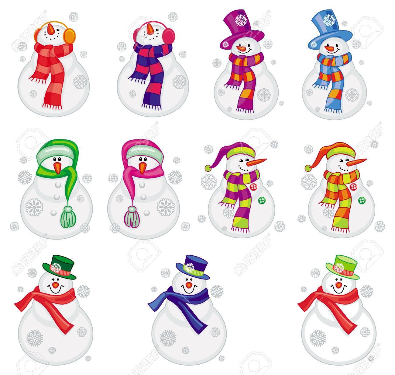 Set Lustige Schneemänner In Den Hüten Und Schals. Weihnachten Design ...