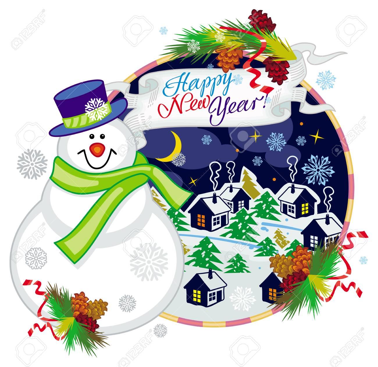 Feiertagsaufkleber Mit Glücklichem Schneemann Im Lustigen Hut Und Im