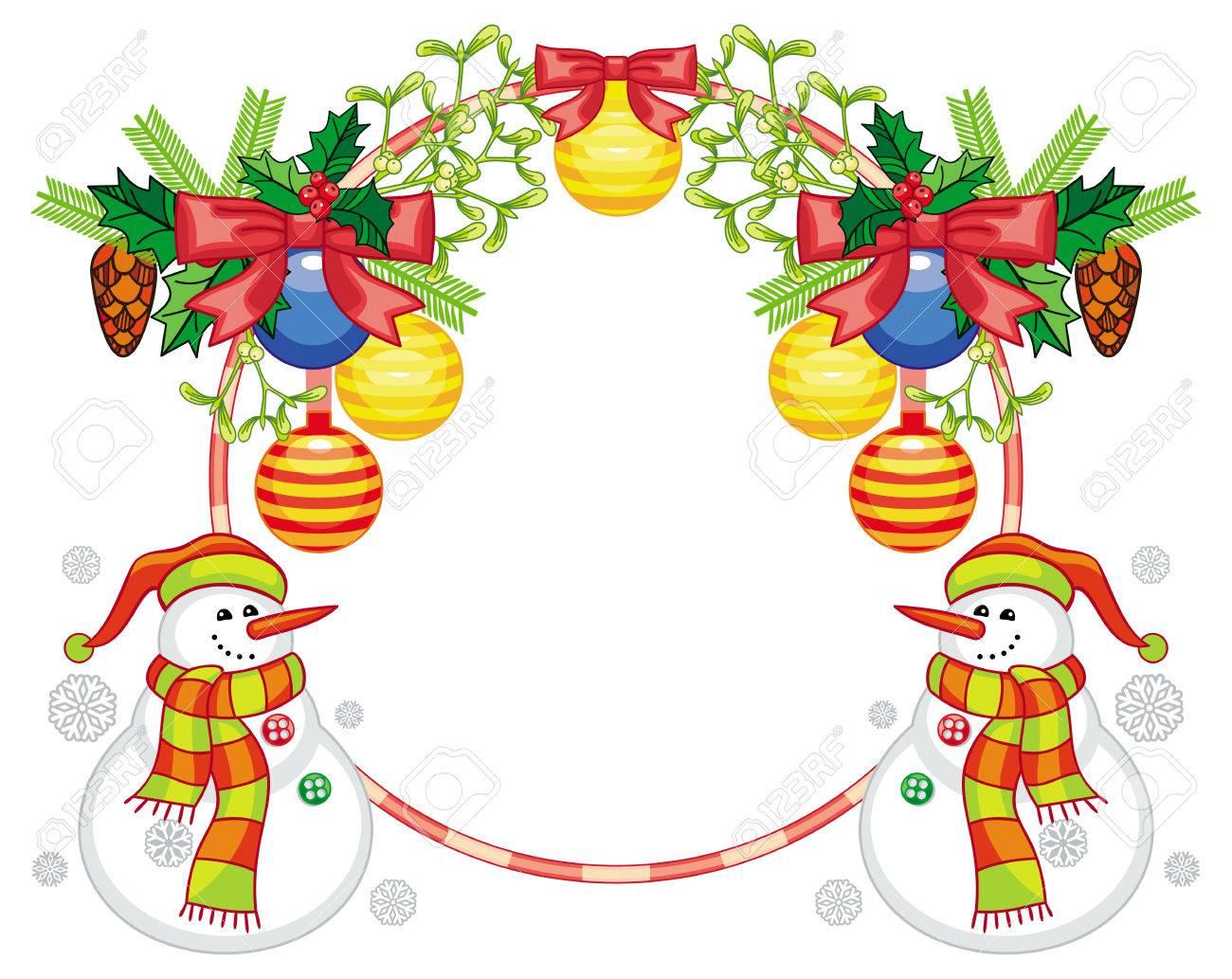 クリスマスの飾りと雪だるまラウンド フレーム。クリスマス デザイン要素