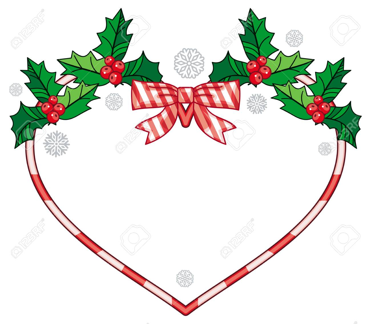 Christmas Heart Vector.Heart Shaped Frame With Christmas Decorations Holiday Design