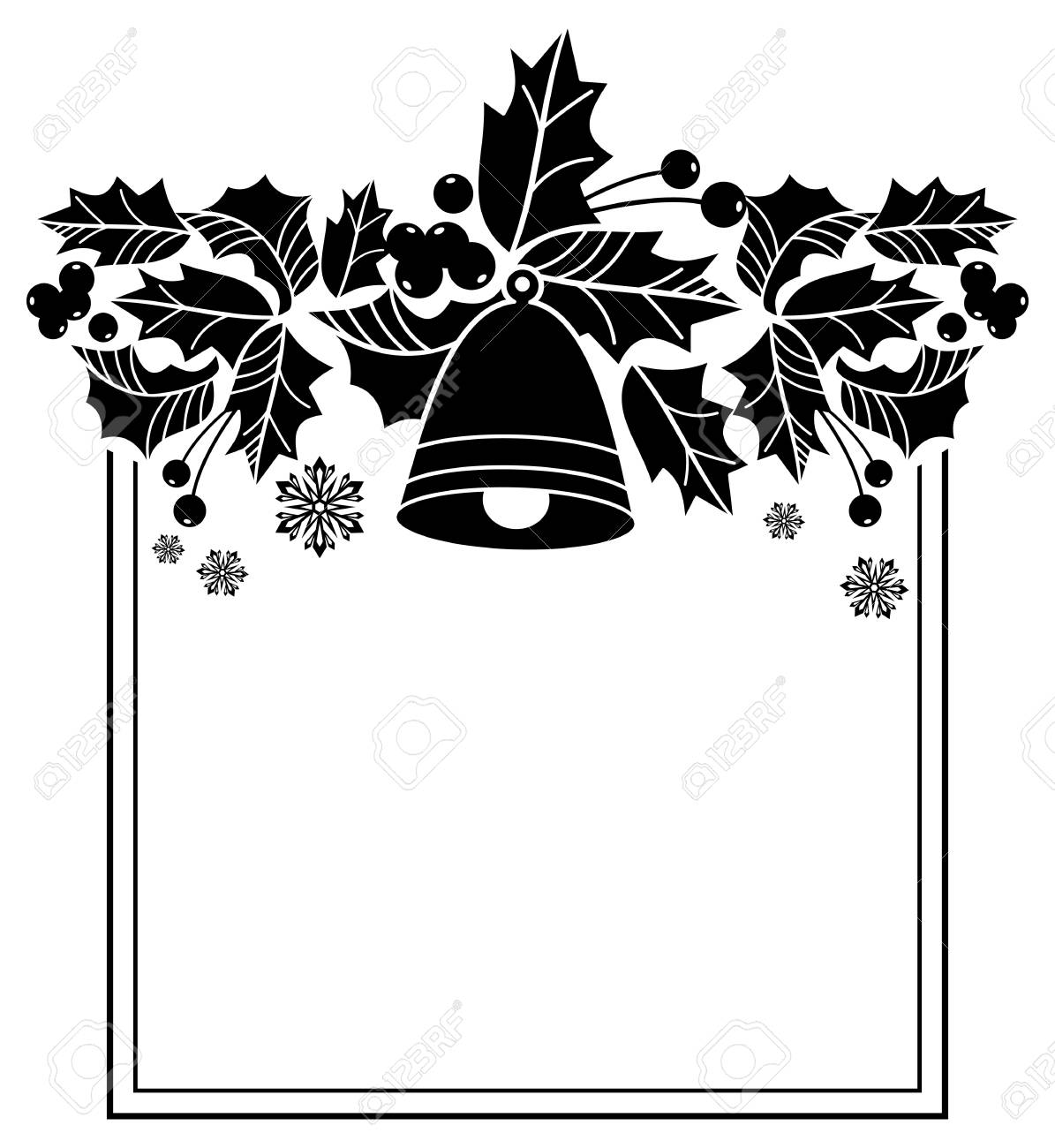 Square Frame With Christmas Bells And Holly Berries Silhouettes. Copy  Space. Vector Clip Art