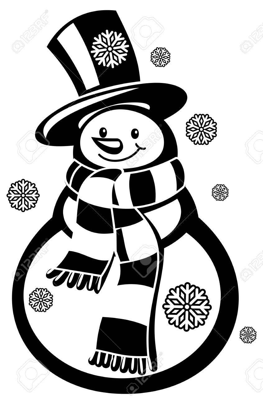 Muñeco De Nieve Y Copos De Nieve Contorno Un Fondo Blanco Dibujo Para Colorear Para Niños Y Adultos En Blanco Y Negro Clip Art
