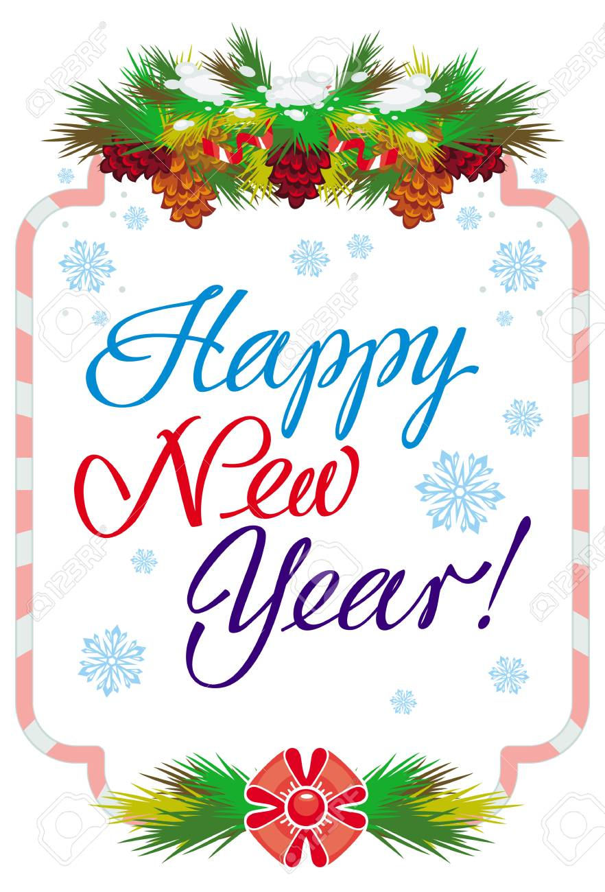 holiday label with greeting text holiday label with greeting text happy new year