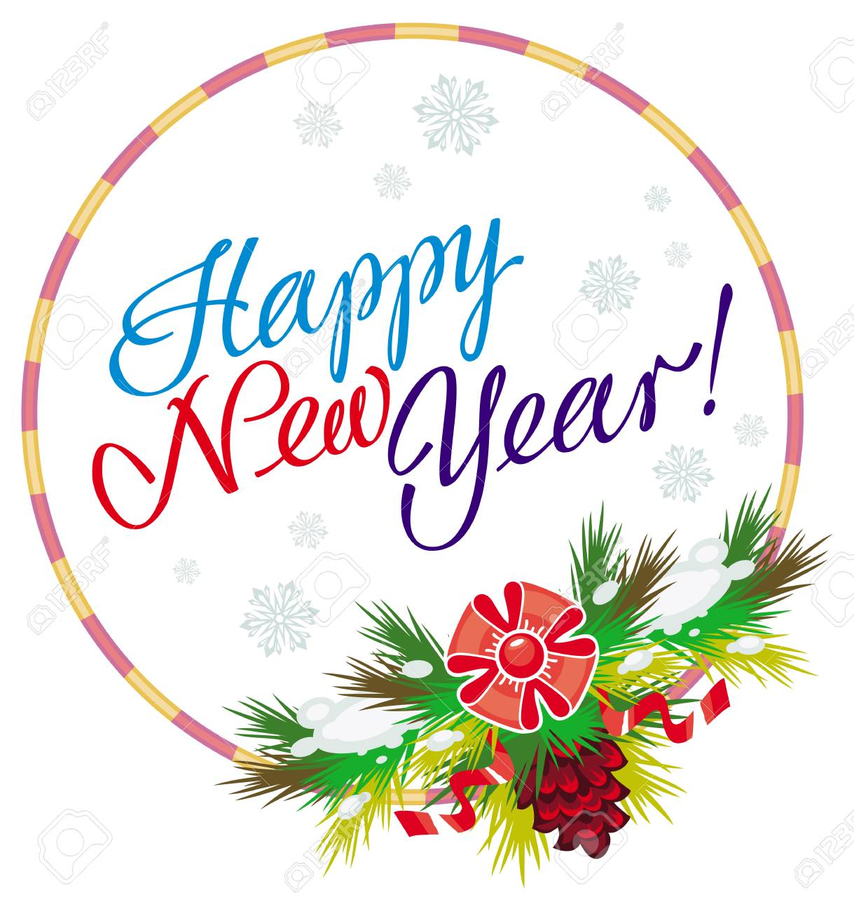 holiday round label with greeting text happy new year design rh 123rf com