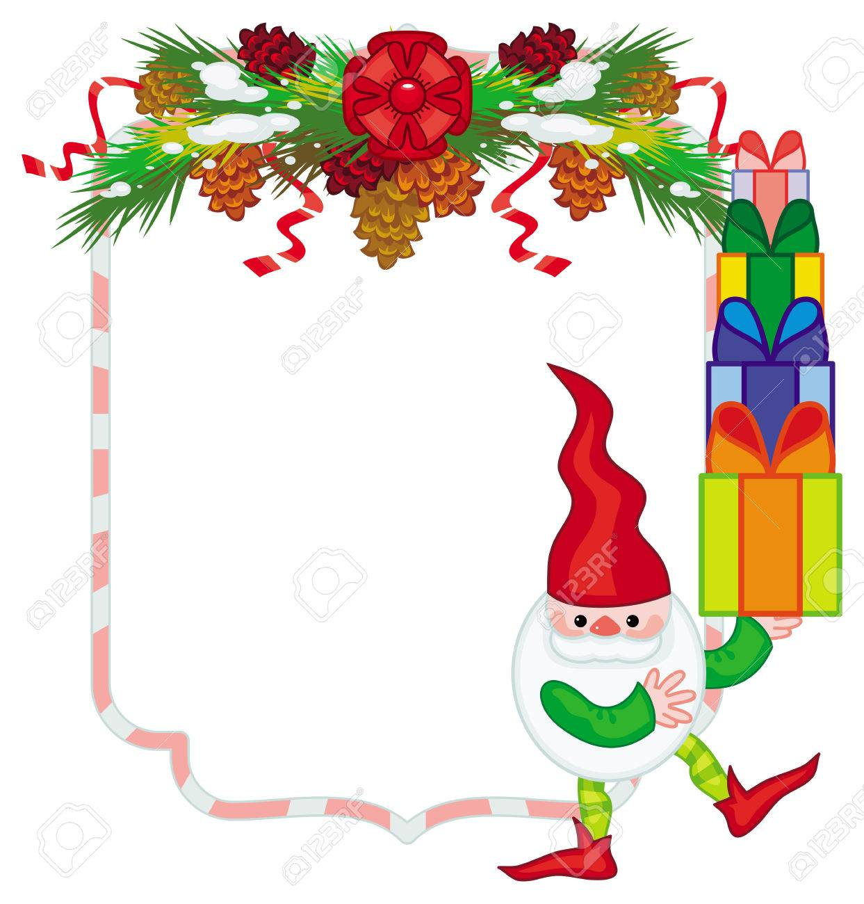 holiday frame with decorations and christmas elf copy space rh 123rf com free christmas clipart transparent background