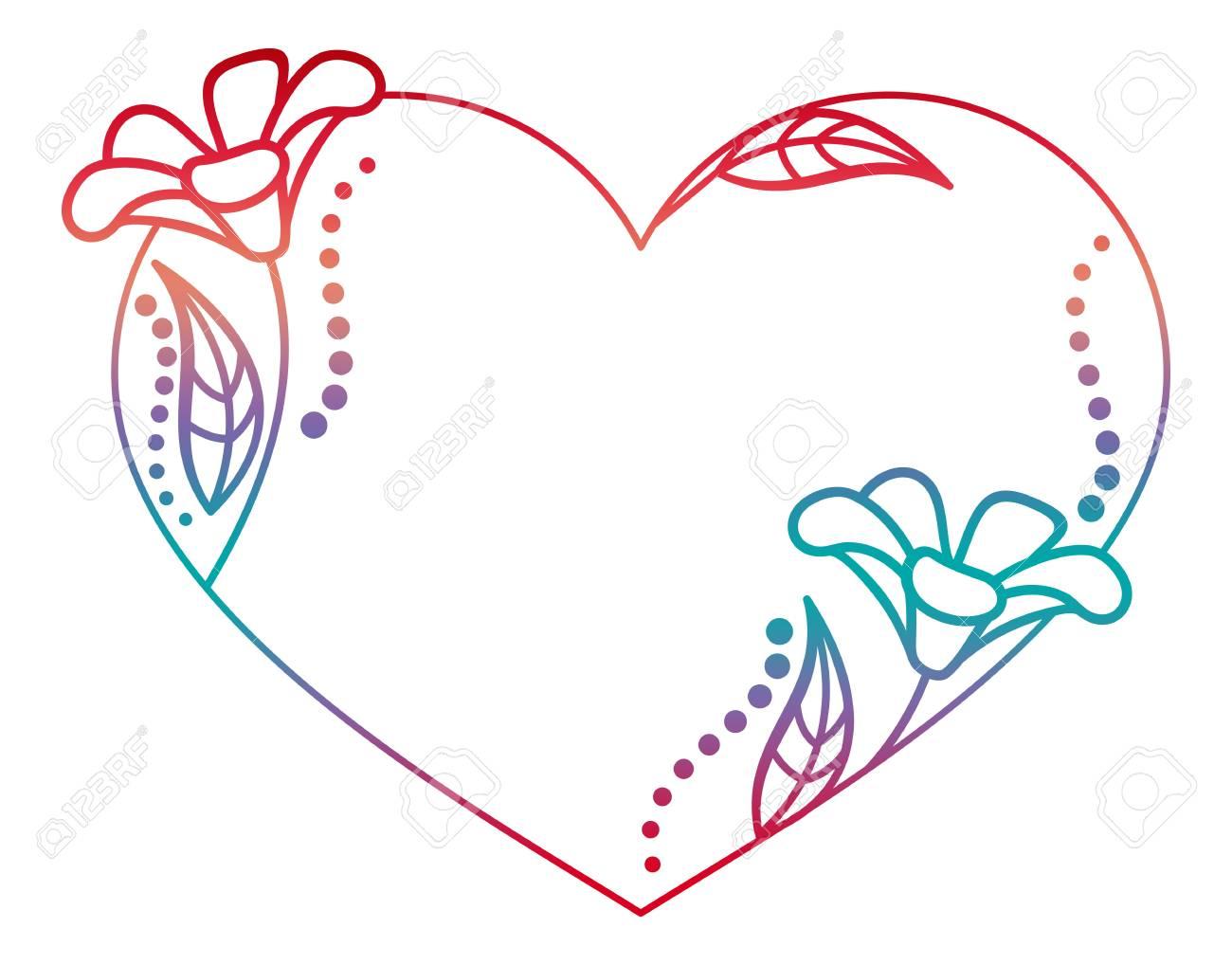 Schöne Herzförmigen Floralen Rahmen Mit Verlaufsfüllung. Farbe ...