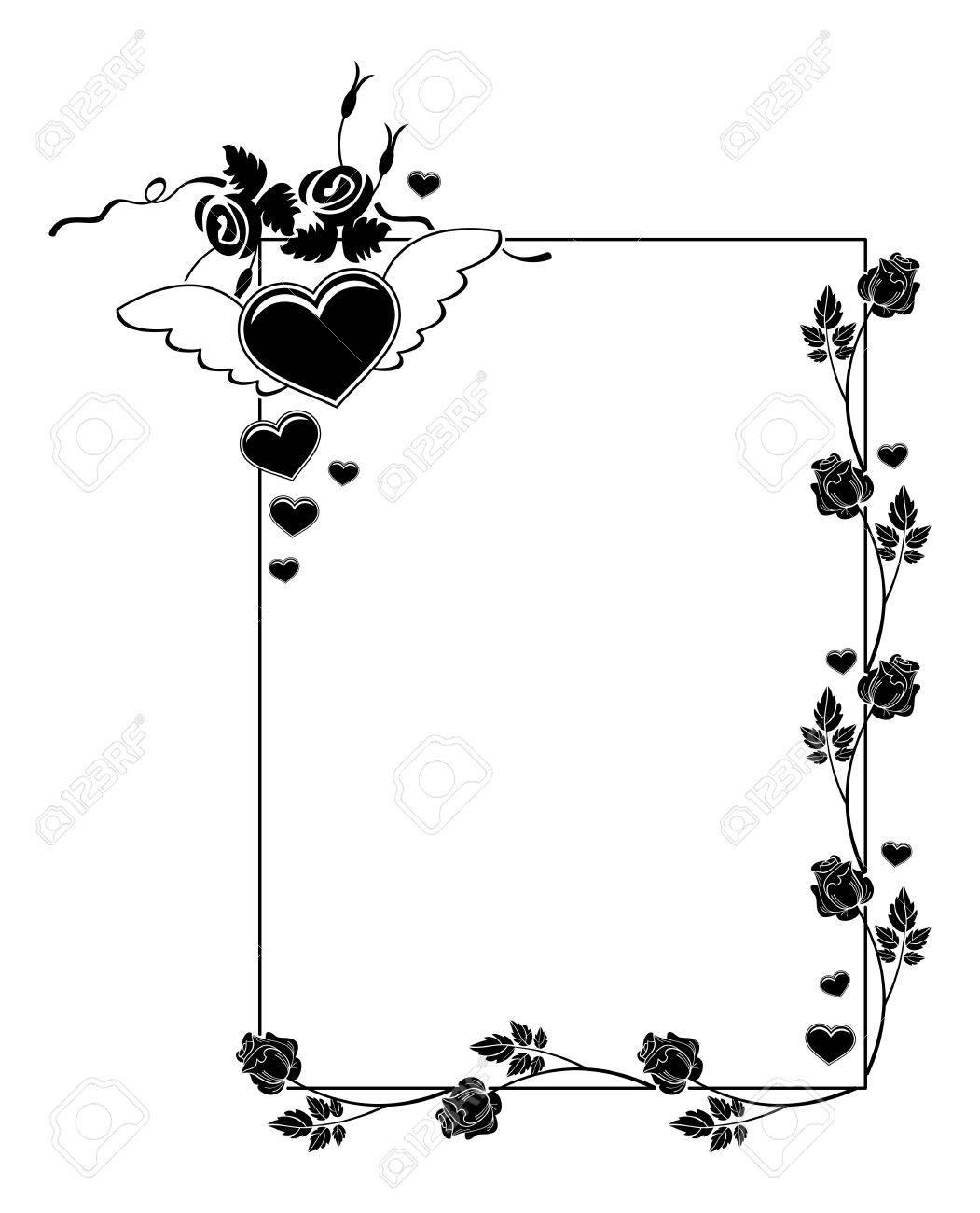 Silueta Del Marco Blanco Y Negro Con Rosas Y Corazón Del Vuelo