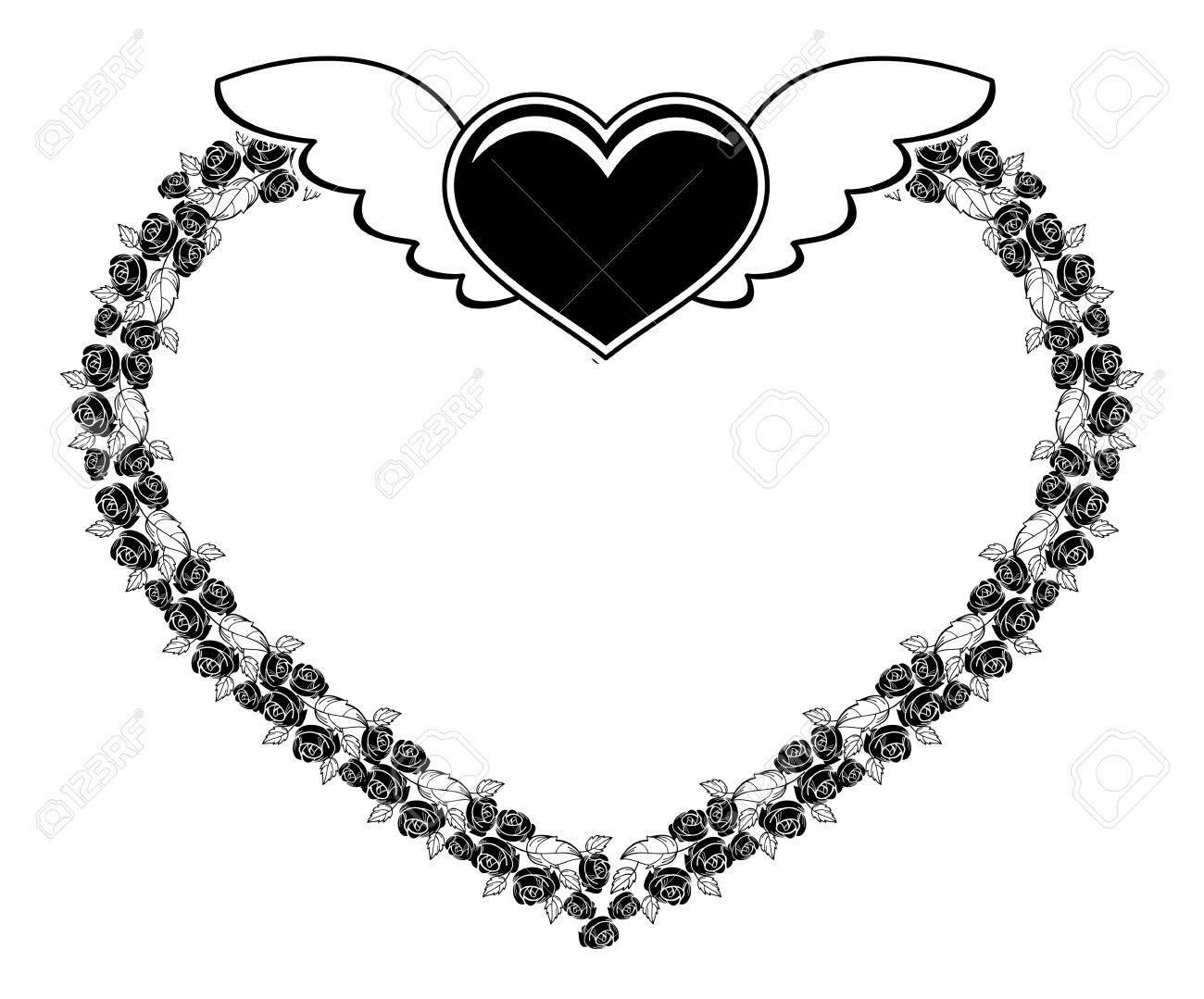 Silueta Del Marco En Forma De Corazón Blanco Y Negro Con Rosas Y