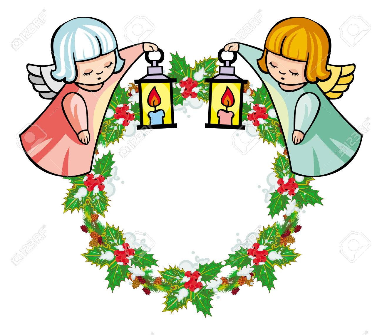 Round Holiday Garland With Ornaments And Little Flying Angel Rh 123rf Com
