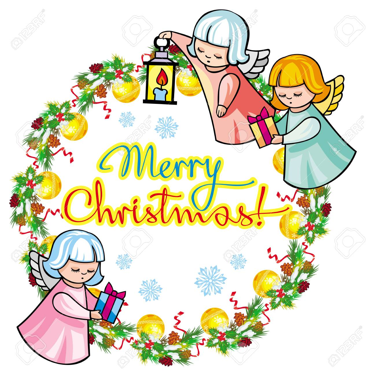 Frohe Weihnachten Clipart.Stock Photo