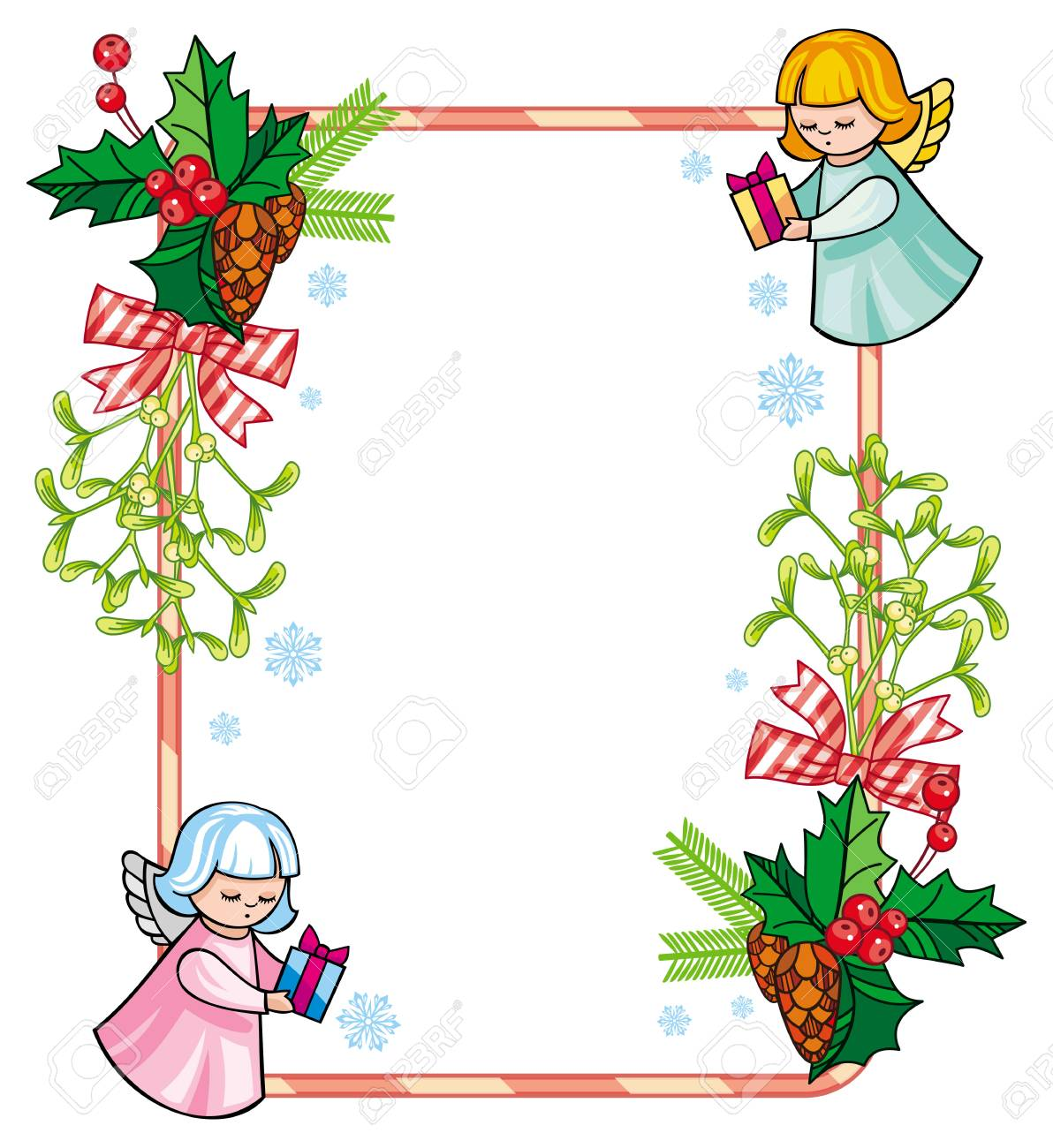 Christmas Holiday Clipart.Christmas Frame With Cute Angels Copy Space Christmas Holiday