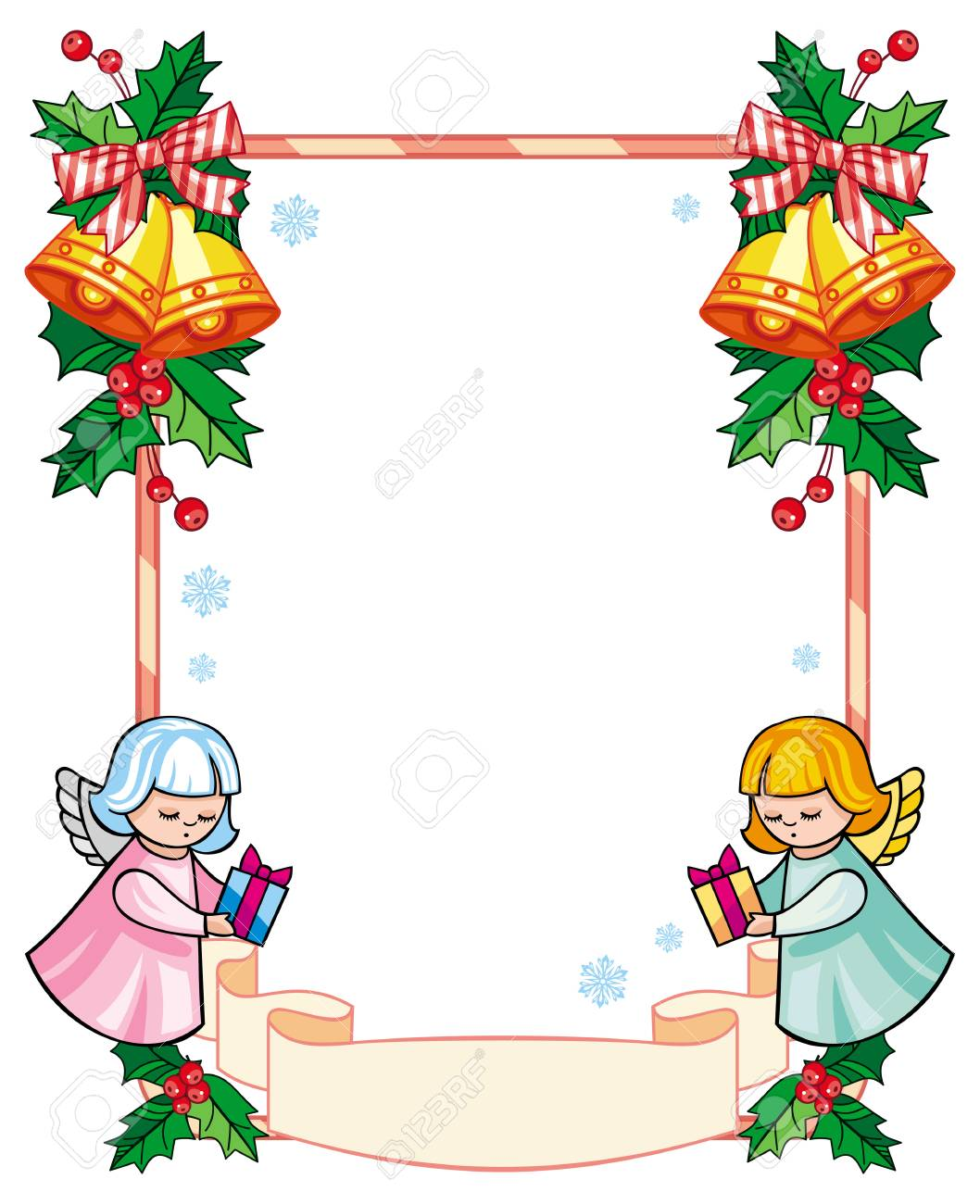 christmas frame with cute angels copy space christmas holiday rh 123rf com Gold Christmas Clip Art Gold Christmas Clip Art