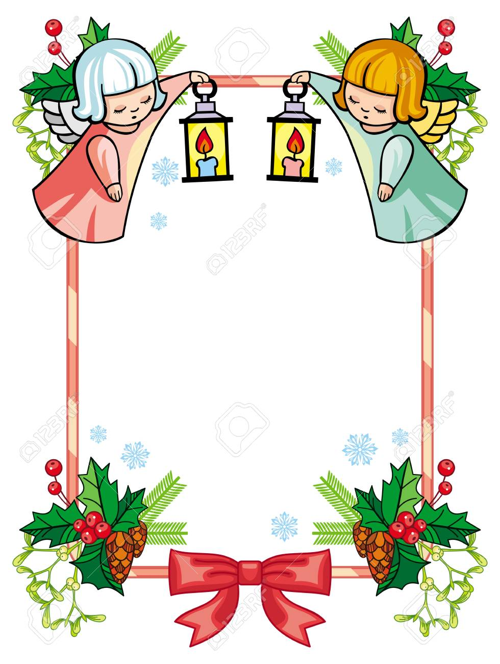 Christmas Frame Clipart.Christmas Frame With Cute Angels Copy Space Christmas Holiday