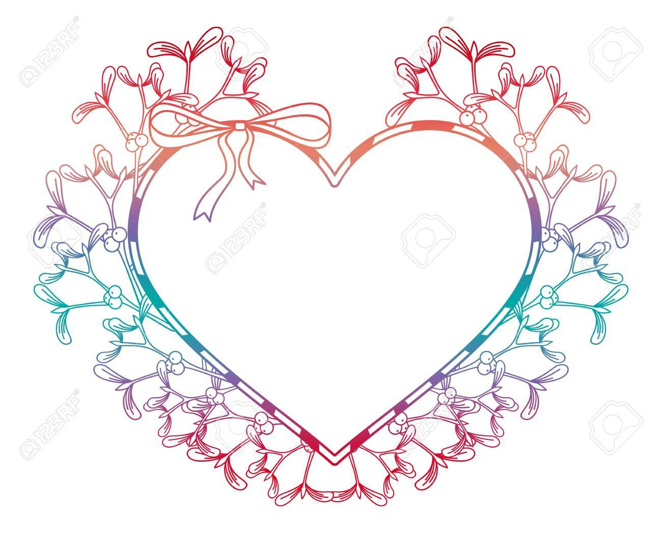 Heart-shaped Frame And Mistletoe. Copy Space. Color Gradient.. Stock ...