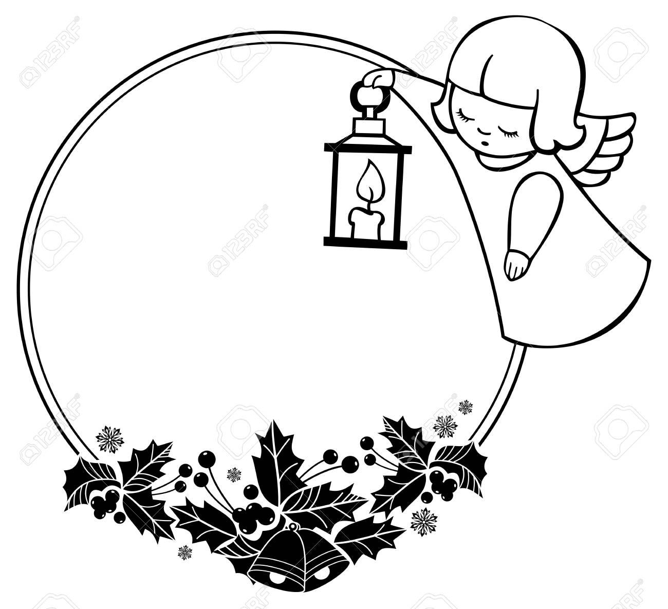 Cadre De Noël Noir Et Blanc Avec Des Anges Mignons Copiez Lespace Fond De Vacances De Noël Clipart Vectoriel