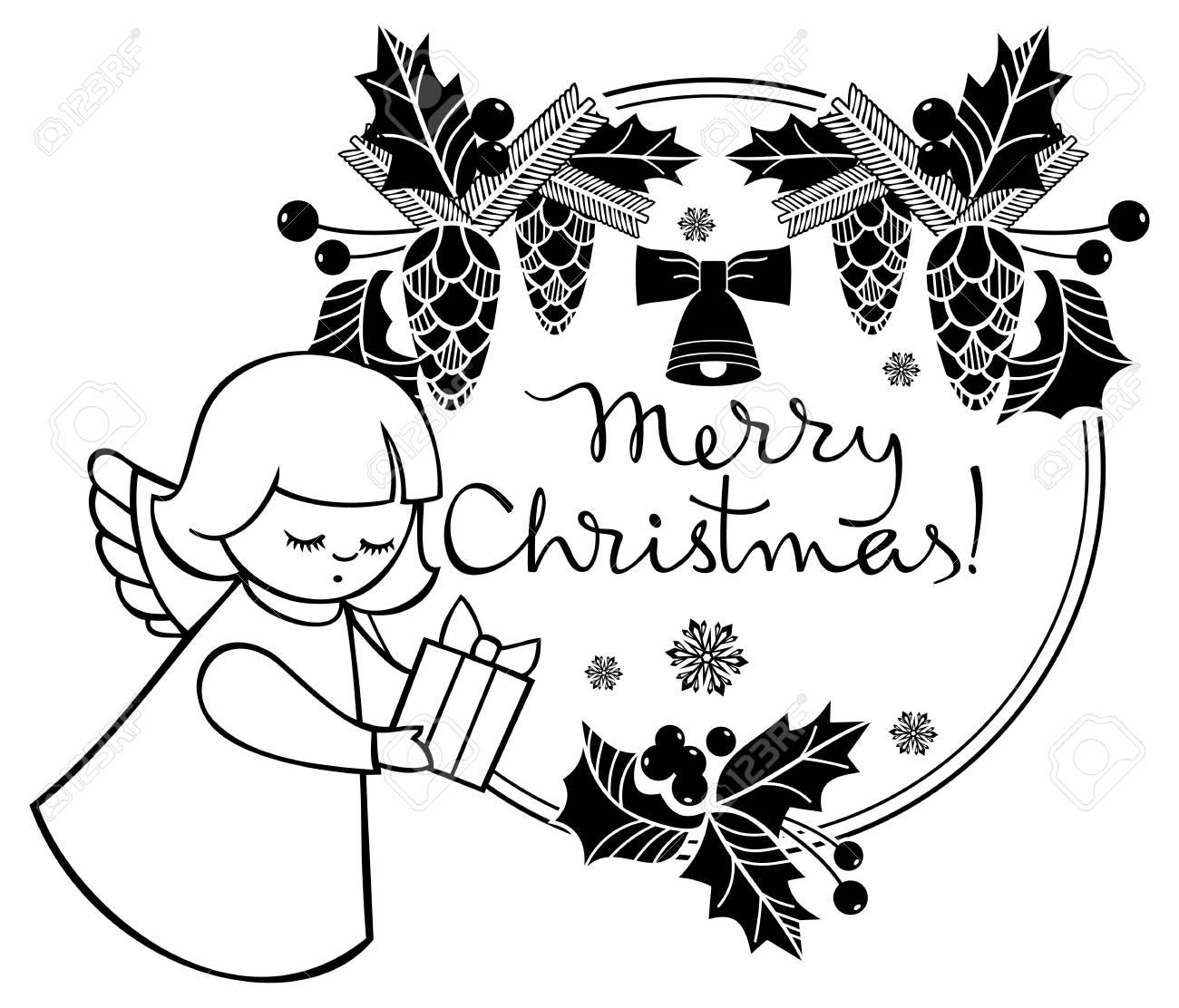 Tiquette De Noël Noir Et Blanc Avec Ange Et Texte écrit Artistique Joyeux Noël Fond De Vacances De Noël Clipart Vectoriel
