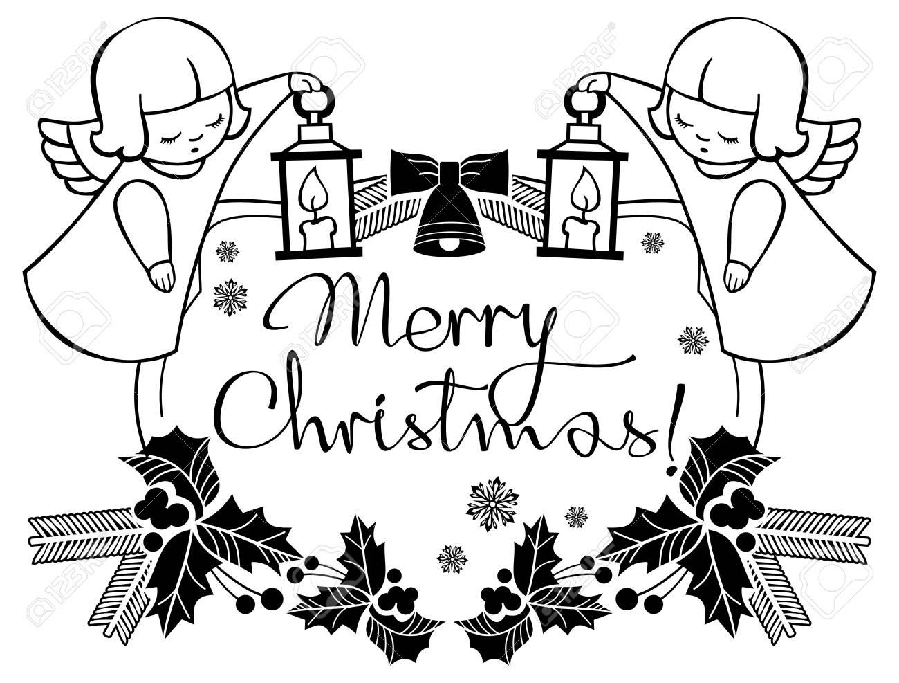 Etiquette De Noël En Noir Et Blanc Avec Des Anges Et Un Texte écrit Artistique Joyeux Noël Contexte De Vacances De Noël Clip Art Vecteur