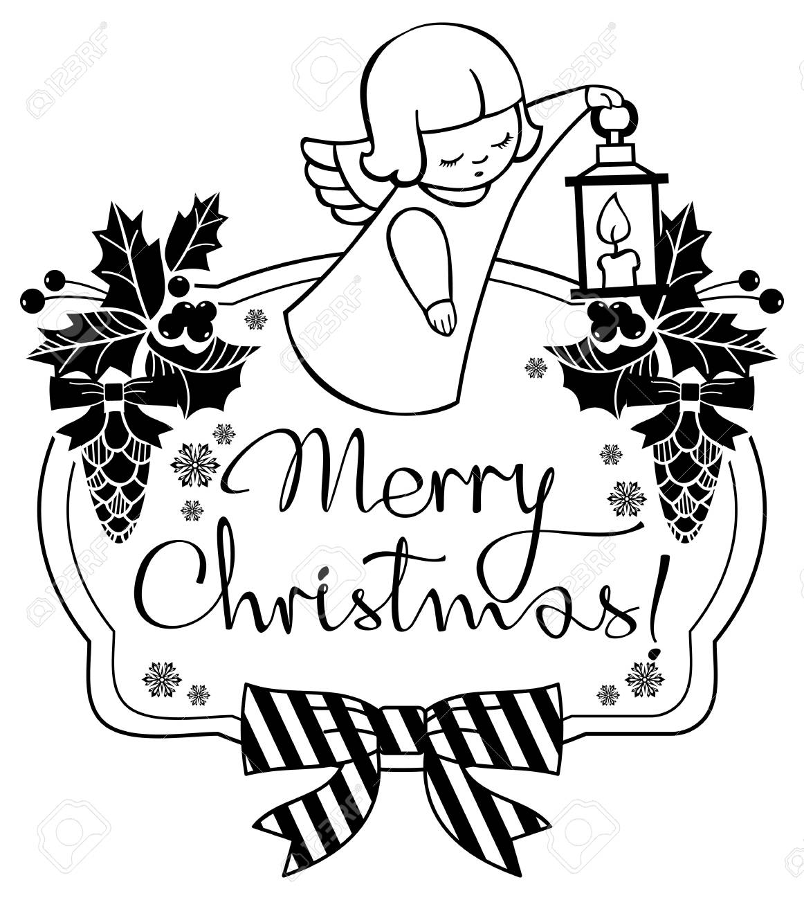 Merry Christmas Images Black And White.Black And White Christmas Label With Angels And Artistic Written