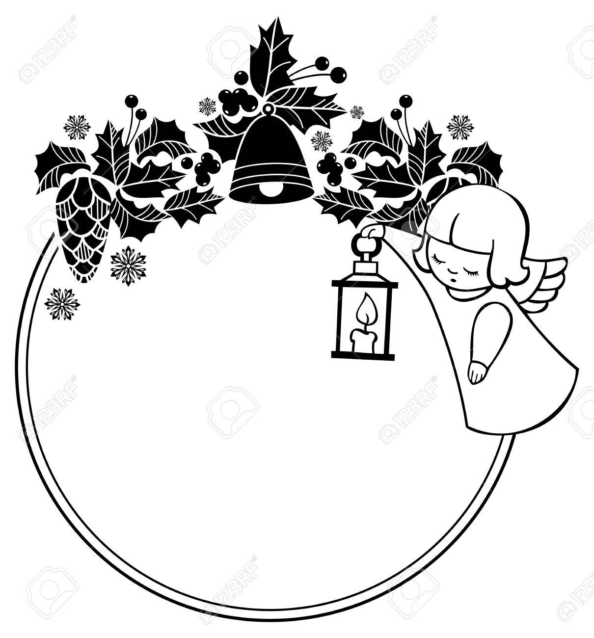 Vector Clip Art Black And White Rouen Christmas Frame With Cute Angels Copy Space Winter Holidays Background