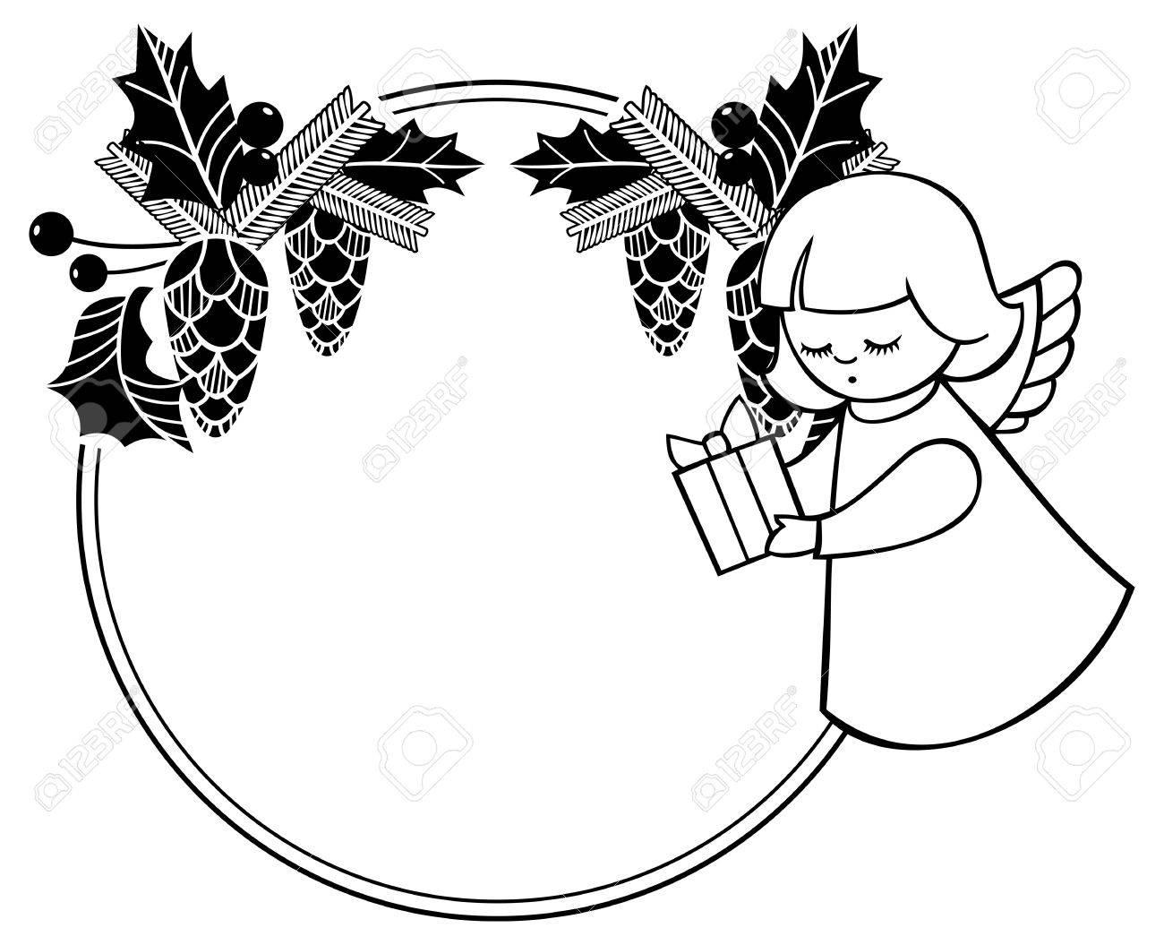 Schwarz-Weiß-rouen Weihnachten Rahmen Mit Niedlichen Engel. Kopieren ...